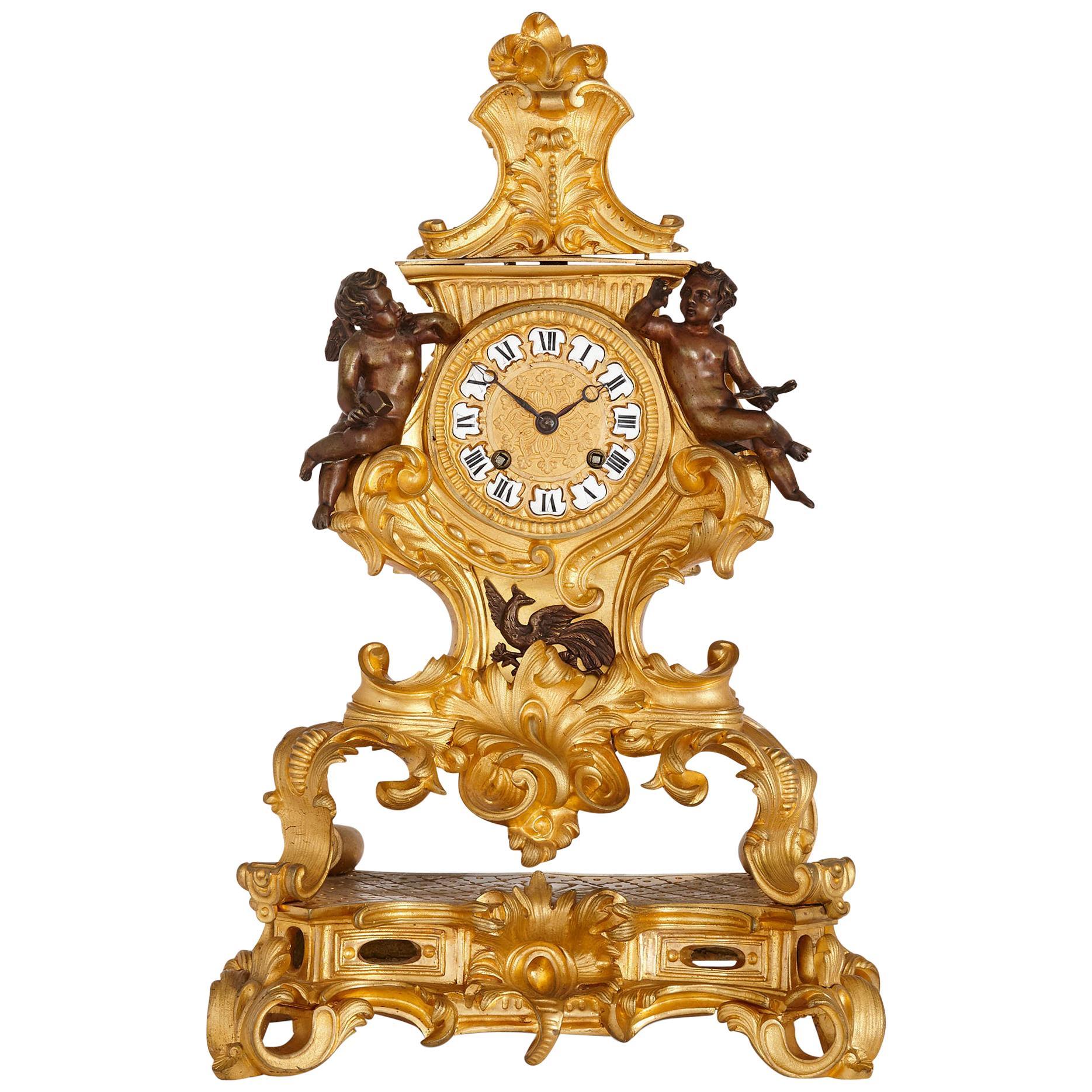 Rococo Style Ormolu Mantel Clock with Putti