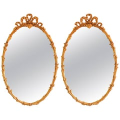 Rococo Style Oval Wall Mirrors in Giltwood Foliate Frame with Ribbon at the Top