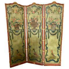 Rococo Style Screen Room Divider Carved and Painted Parcel Gilt Painted Canvas