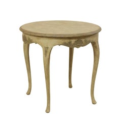 Rococo Style Swedish Round Painted Wood Occasional Table with Seashell Motifs