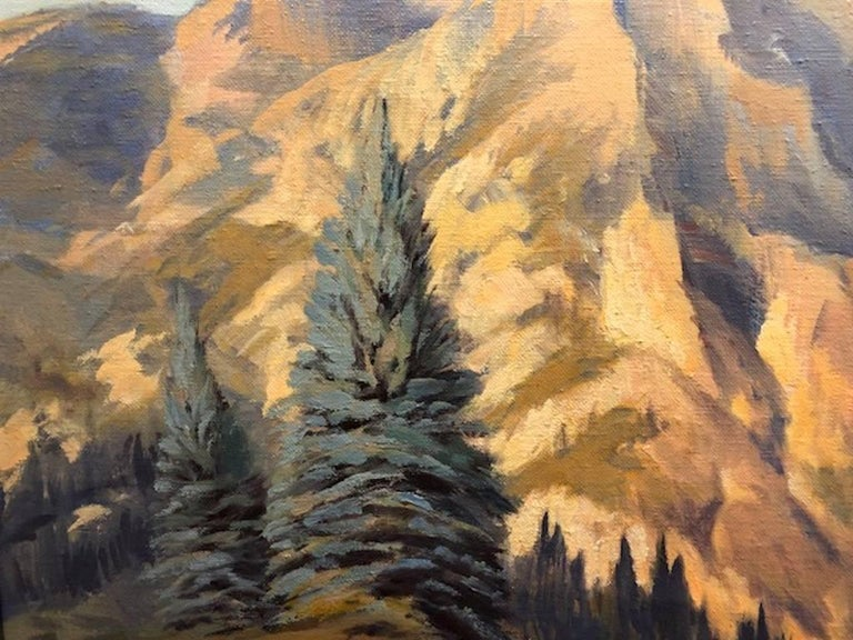 Mountain Landscape - Brown Landscape Painting by Rod Goebel