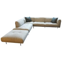 Rod Leather and Fabric Sectional Sofa by Living Divani