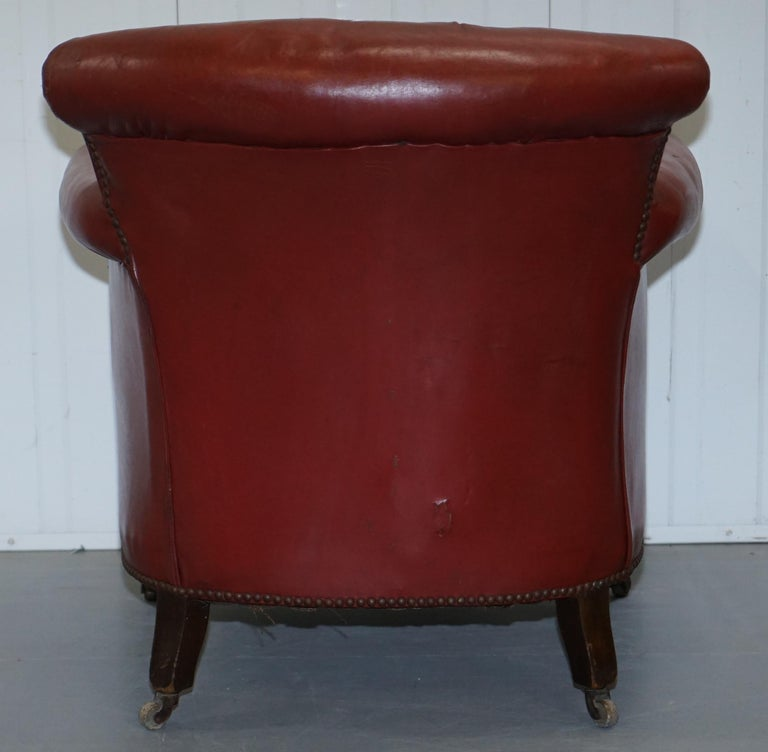 Rod Stewart Essex Home Howard & Son's Victorian Blood Red Leather Armchairs For Sale 5