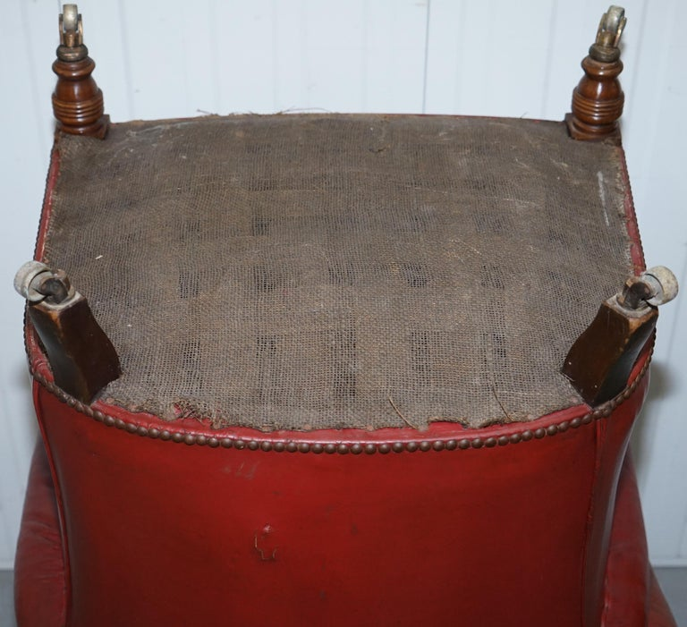Rod Stewart Essex Home Howard & Son's Victorian Blood Red Leather Armchairs For Sale 6