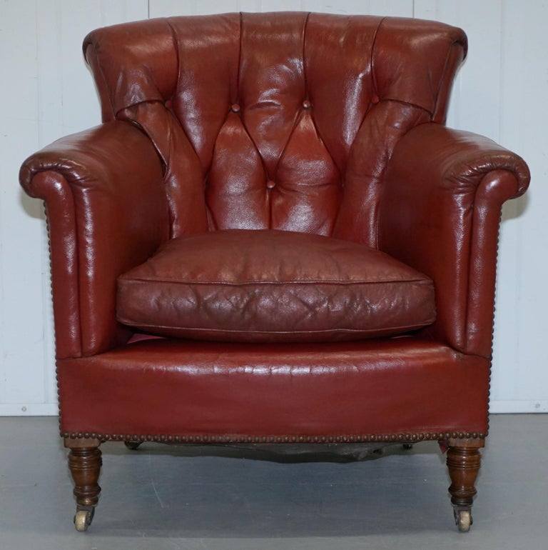 Rod Stewart Essex Home Howard & Son's Victorian Blood Red Leather Armchairs For Sale 9