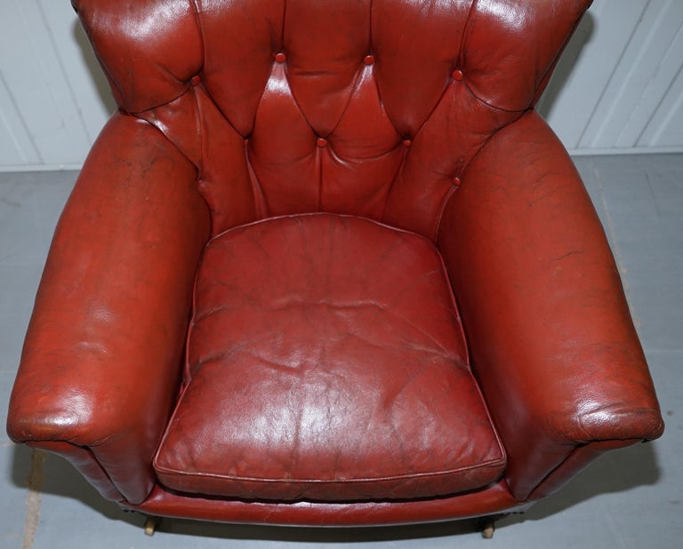 Rod Stewart Essex Home Howard & Son's Victorian Blood Red Leather Armchairs For Sale 10
