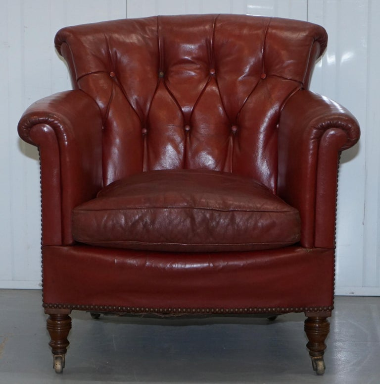 Hand-Crafted Rod Stewart Essex Home Howard & Son's Victorian Blood Red Leather Armchairs For Sale
