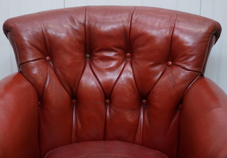 Rod Stewart Essex Home Howard & Son's Victorian Blood Red Leather Armchairs In Fair Condition For Sale In , Pulborough