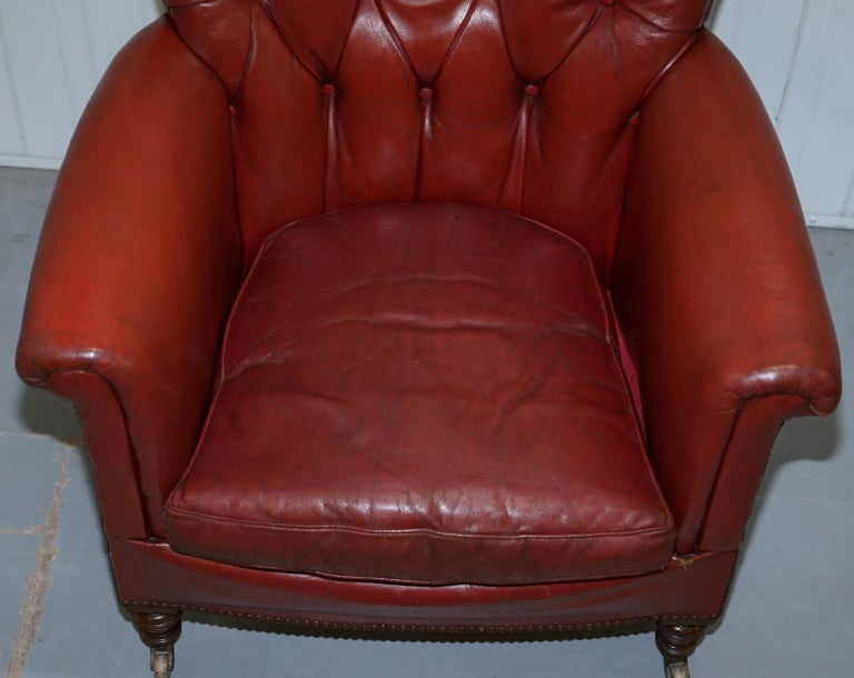 Late 19th Century Rod Stewart Essex Home Howard & Son's Victorian Blood Red Leather Armchairs For Sale