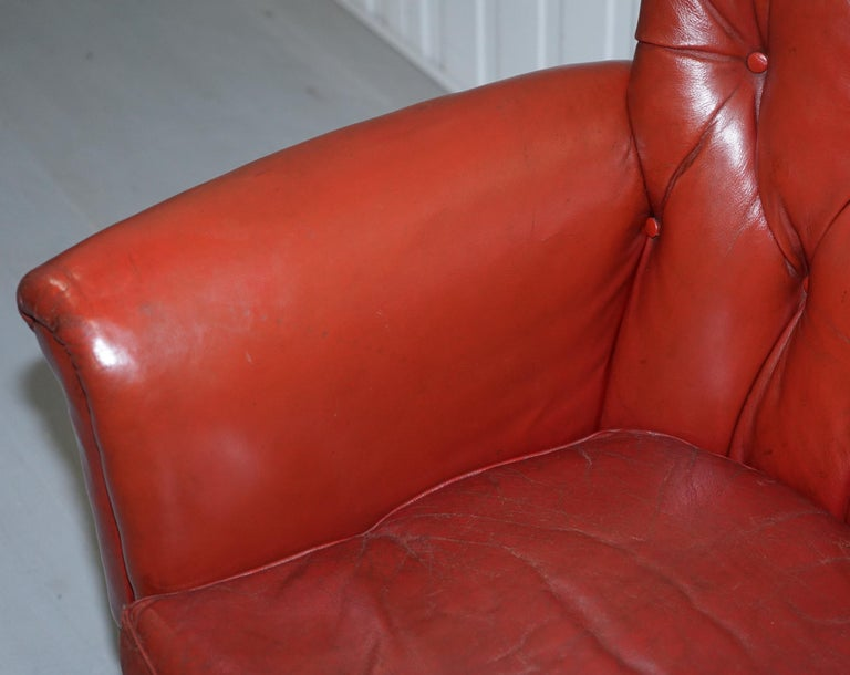 Rod Stewart Essex Home Howard & Son's Victorian Blood Red Leather Armchairs For Sale 1