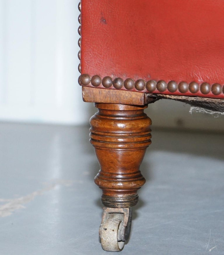 Rod Stewart Essex Home Howard & Son's Victorian Blood Red Leather Armchairs For Sale 2