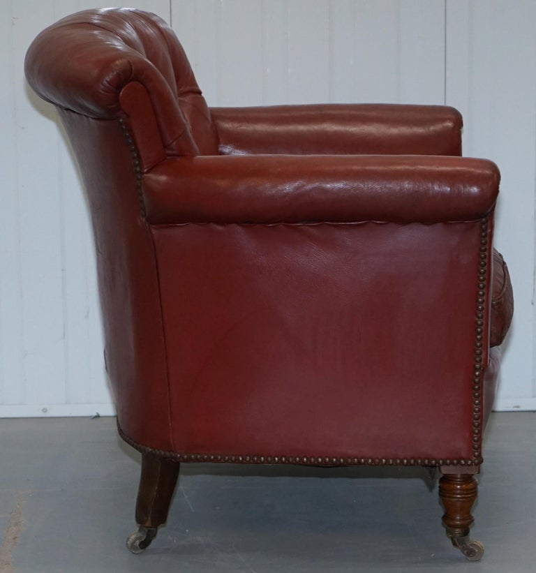 Rod Stewart Essex Home Howard & Son's Victorian Blood Red Leather Armchairs For Sale 4