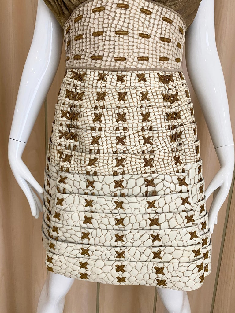 Rodarte creme croc and silk cocktail dress ( runway 2011)  (neiman marcus price tag attached ) size 6