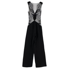 Rodarte Black Sheer Plunged Wing Back Jumpsuit - Size US 4