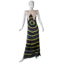 Rodarte Homage to 1960's Tie-Dye Maxi Dress Neoprene Collar