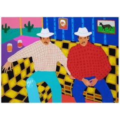 'Rodeo Bums' Portrait Painting by Alan Fears, Cowboys