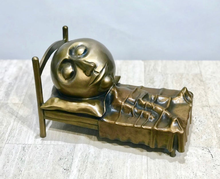 Slumber, Rodger Jacobsen bronze sculpture skinny man sleeping bed with big head - Contemporary Sculpture by Rodger Jacobsen