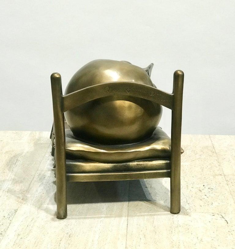 Slumber, Rodger Jacobsen bronze sculpture skinny man sleeping bed with big head For Sale 3