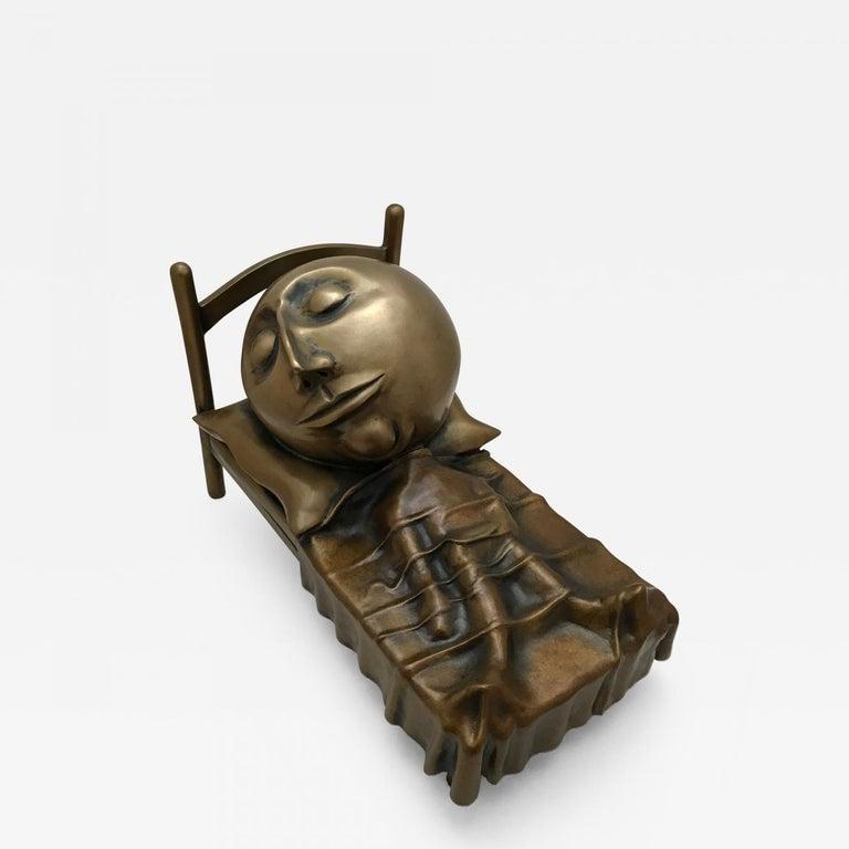 Slumber, Rodger Jacobsen bronze sculpture skinny man sleeping bed with big head For Sale 4