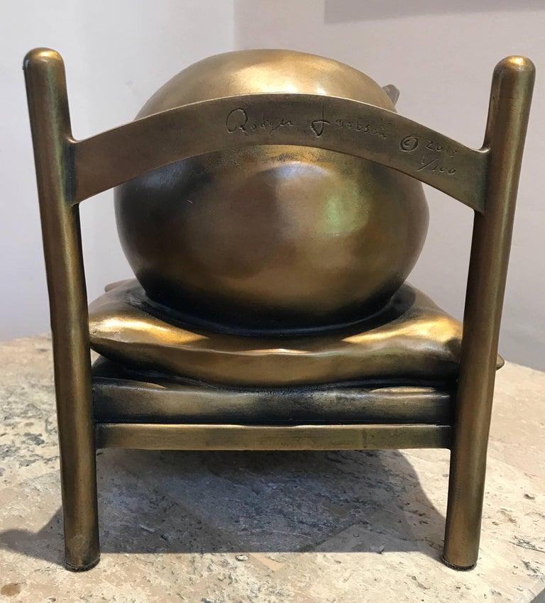 Slumber, Rodger Jacobsen bronze sculpture skinny man sleeping bed with big head For Sale 7