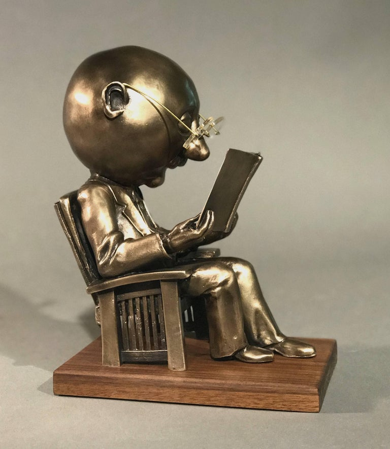 The Reader (small),Rodger Jacobsen gold bronze sculpture, reading book, glasses  - Brown Figurative Sculpture by Rodger Jacobsen