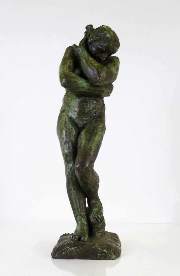 Patinated Rodin Classical Nude EVE Reproduction Plaster Sculpture by Austin Productions For Sale