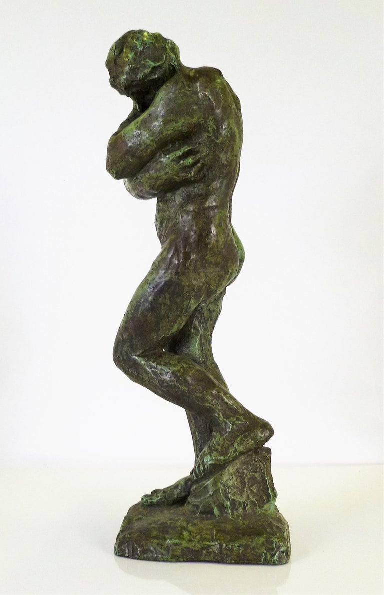 Rodin Classical Nude EVE Reproduction Plaster Sculpture by Austin Productions In Good Condition For Sale In Miami, FL