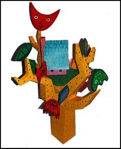 RODNEY GREENBLAT Large ORIGINAL WOOD SCULPTURE Acrylic Painting Signed Pop Art