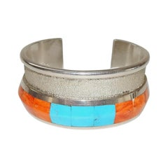 Rodney Coriz Santo Domingo Pueblo, Sterling and Multi-Stone Cuff Bracelet