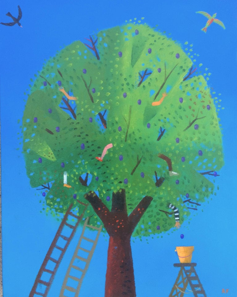 Rodney Forbes Still-Life Painting - Chidden Picking Plums, oil painting, green, blue, birds, kids, humor, ladders