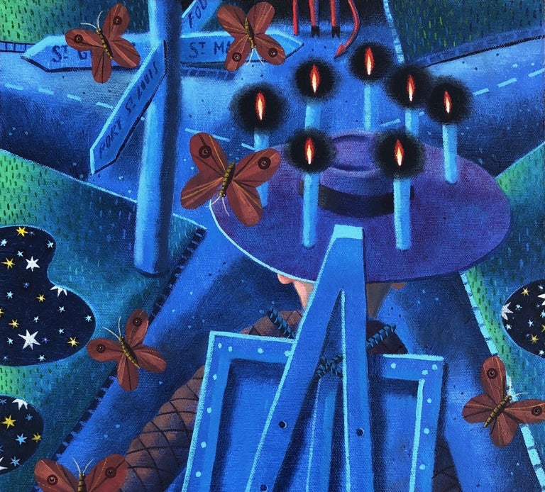 Starry Night with Crossroads, oil painting, blue, candles, moths, stars, silver - Blue Landscape Painting by Rodney Forbes