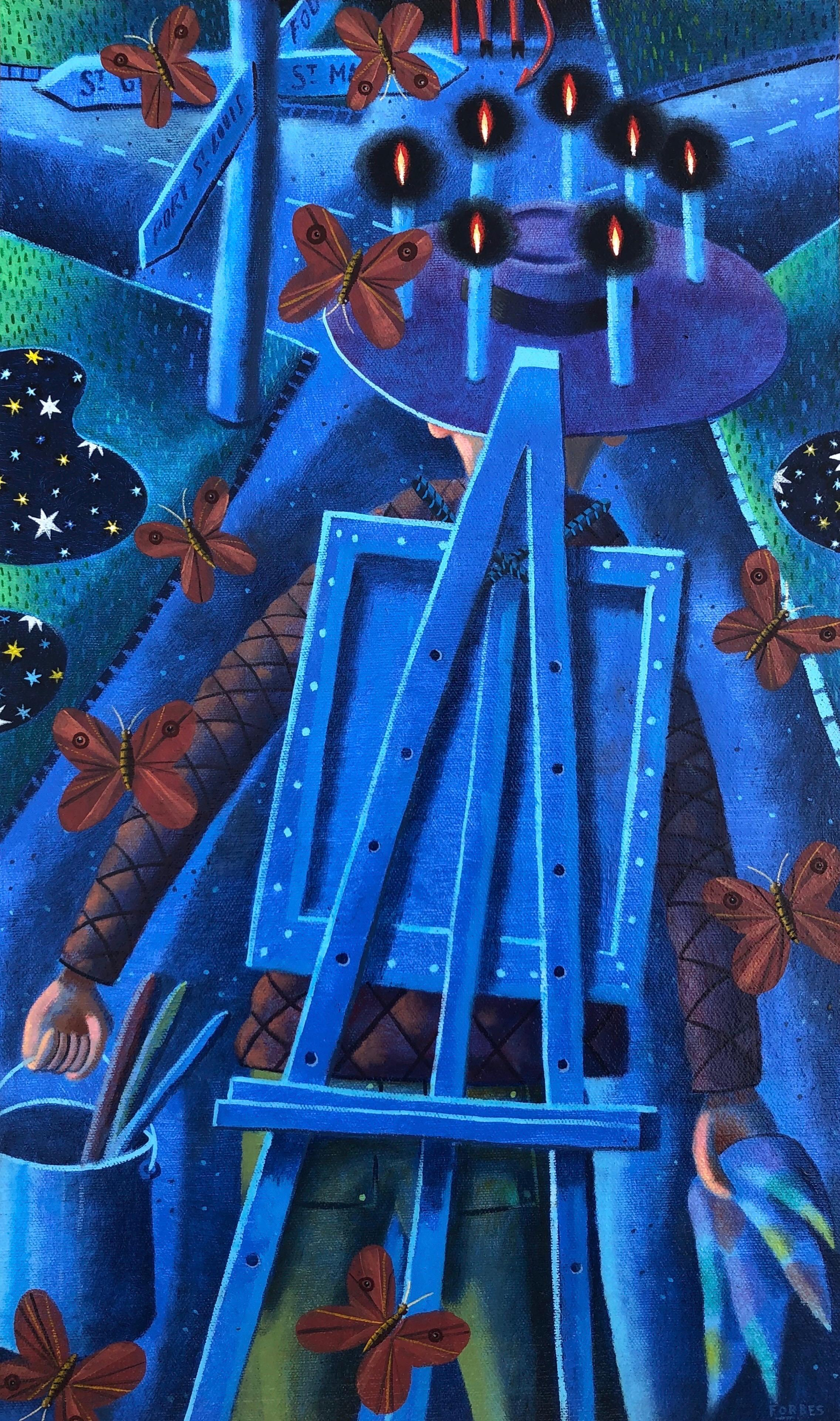 Starry Night with Crossroads, oil painting, blue, candles, moths, stars, silver