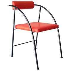 Rodney Kinsman Black Red Metal Vienna Chair, United Kingdom, 1980