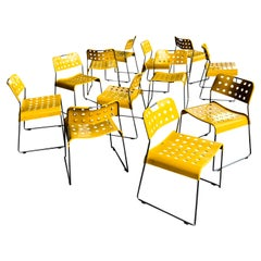 Rodney Kinsman Space Age Yellow Omstak Chair for Bieffeplast, 1971, Set of 12