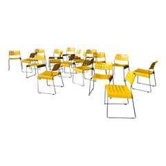Rodney Kinsman Space Age Yellow Omstak Chair for Bieffeplast, 1971, Set of 18
