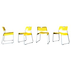 Rodney Kinsman Space Age Yellow Omstak Chair for Bieffeplast, 1971, Set of 4