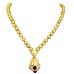 Rodney Rayner 18 Karat Gold Bead Necklace with Rhodolite Hearts and Diamonds