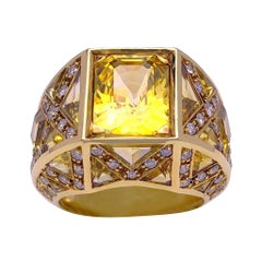 Rodney Rayner 18KT Gold Ring 9.27 Carat Yellow Sapphires and .85 Carat Diamonds