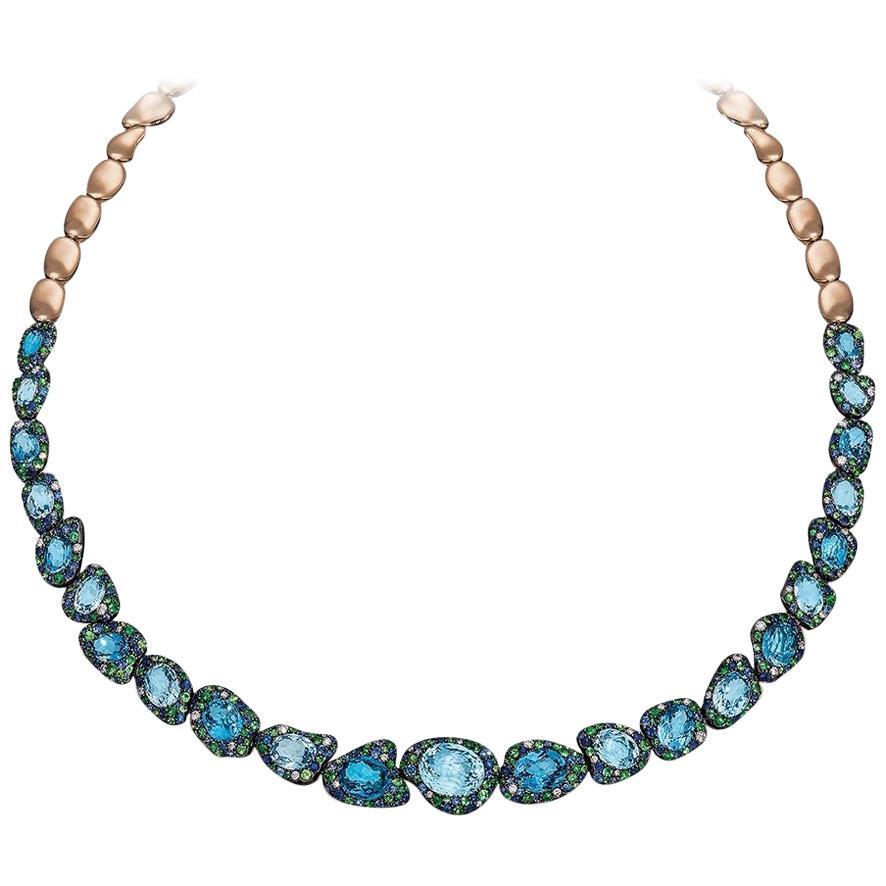 Rodney Rayner 18kt RG, Blue Sapphire, Blue Topaz, Tsavorite and Diamond Necklace
