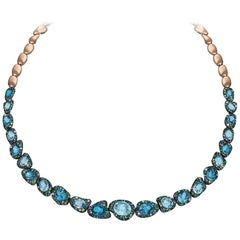 Rodney Rayner 18kt RG, Blue Sapphire, Blue Topaz, Tsavorite and Diamond Necklace