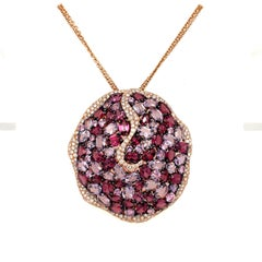 Rodney Rayner 18KT Rose Gold Pendant with Diamonds, Rhodolite, & Amethyst
