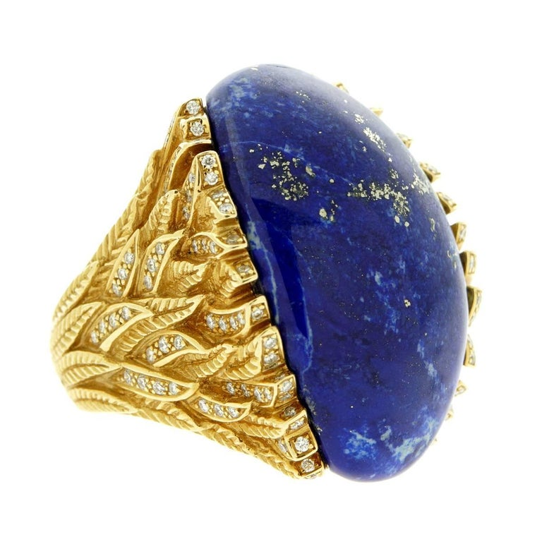 Rodney Rayner One of a Kind Lapis Lazuli Diamond Gold Ring For Sale