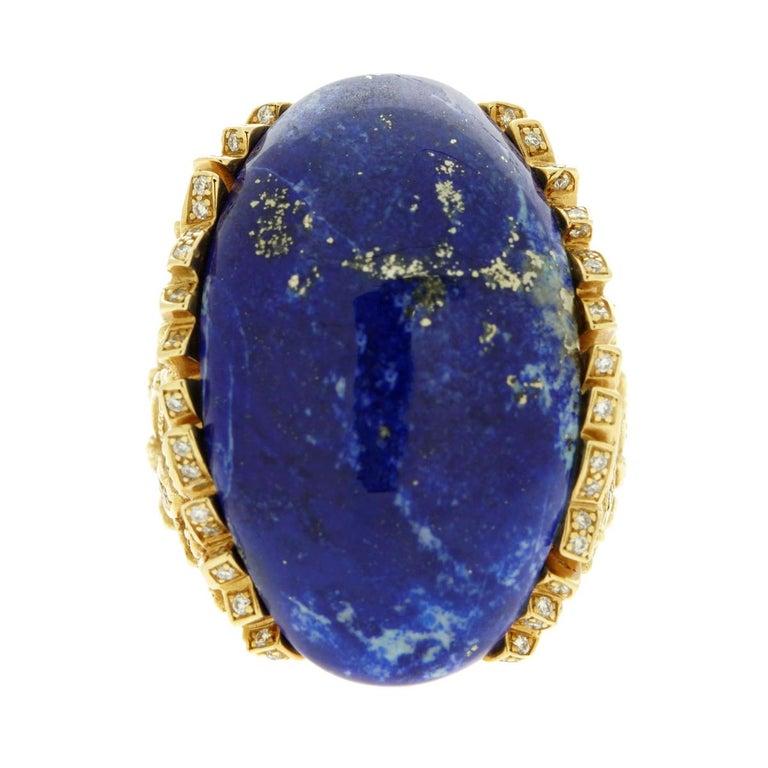 Women's Rodney Rayner Award Winning Designer  Lapis Lazuli Diamond Gold Ring For Sale