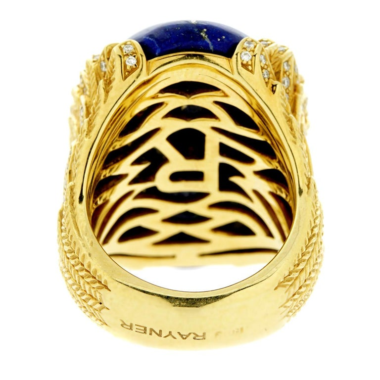 Rodney Rayner Award Winning Designer  Lapis Lazuli Diamond Gold Ring For Sale 2