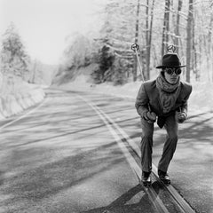 Reed Skiing in Road, unframed 40 x 40 inch black and white skiing print