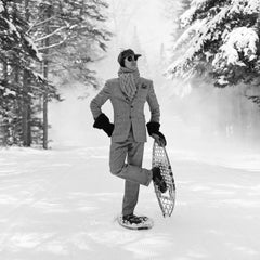 Reed with Snowshoes- framed black and white snow sport photograph