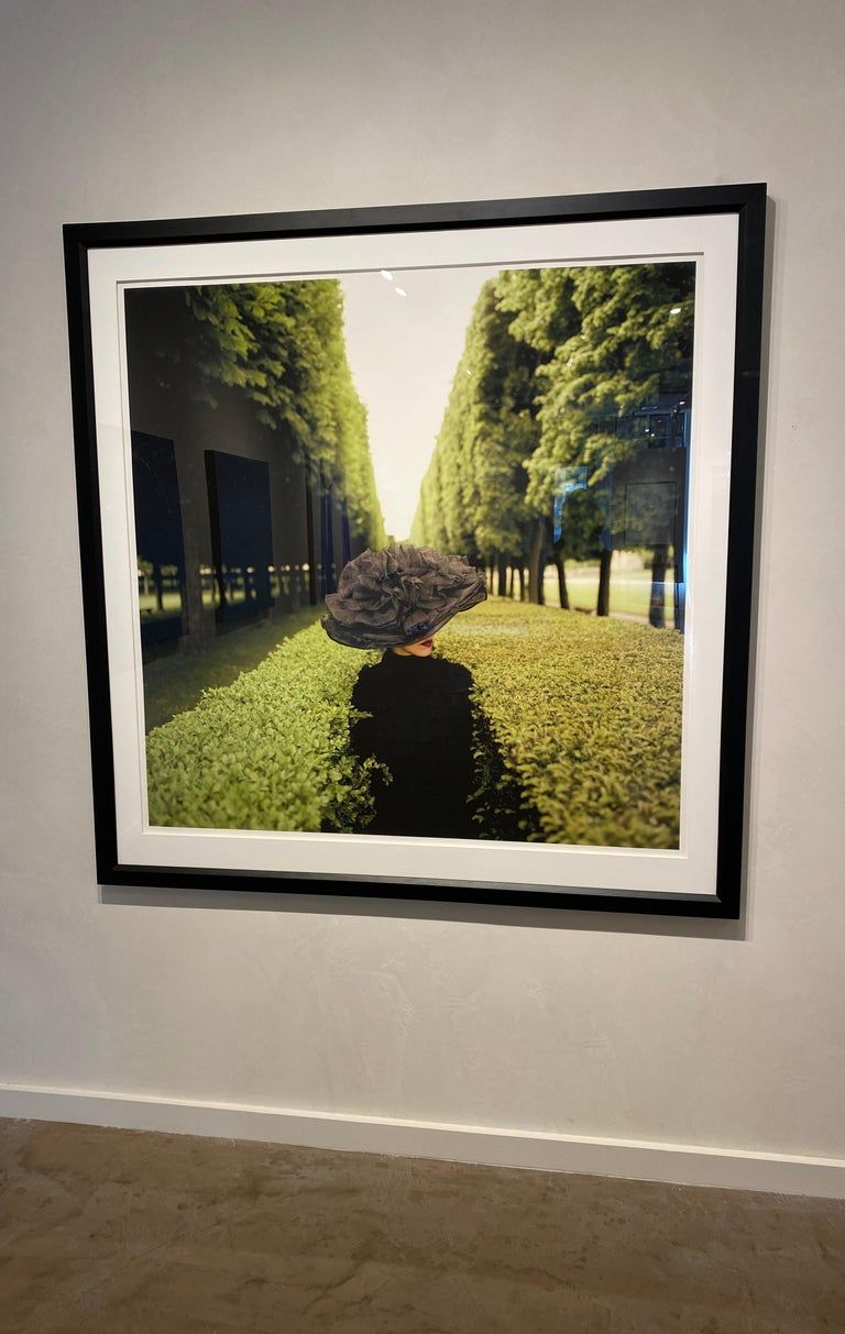Woman with Hat Between Hedges- framed color Rodney Smith Photograph For Sale 1