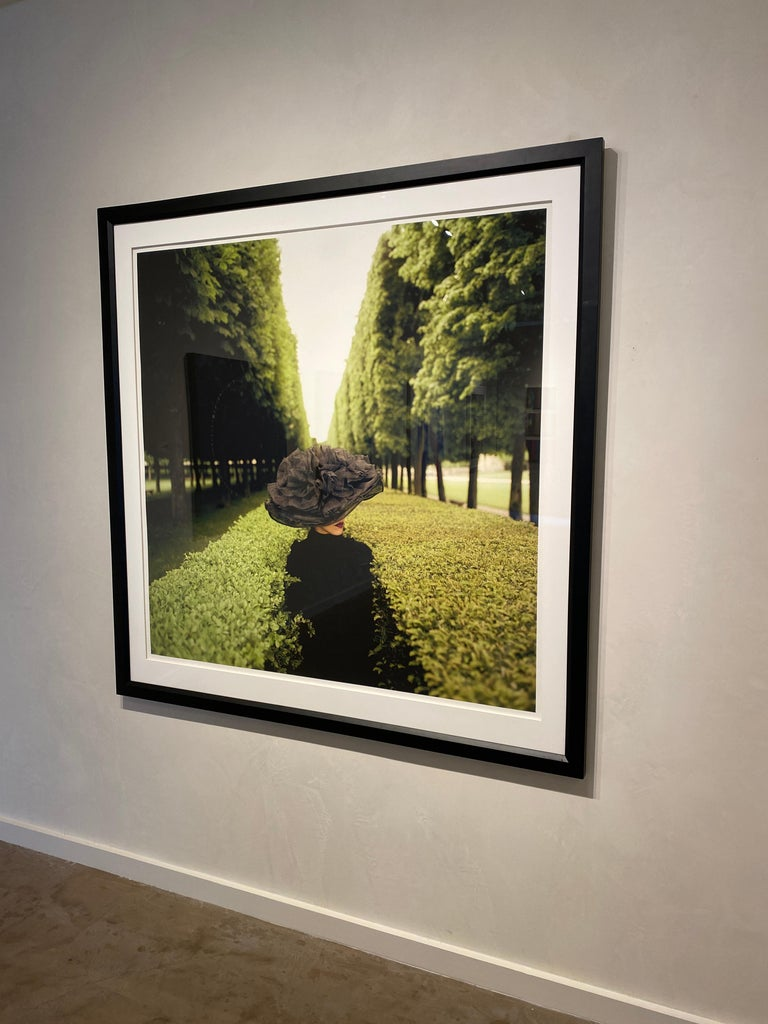 Woman with Hat Between Hedges- framed color Rodney Smith Photograph For Sale 2