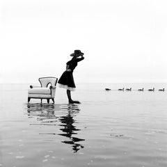 Zoe on Water With Ducks, Sherwood Island, Westport, CT