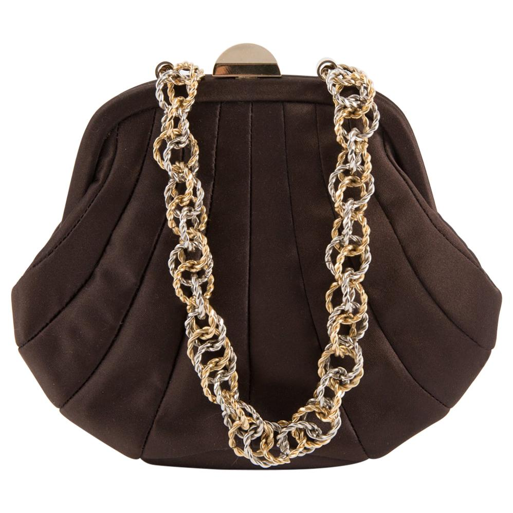 Rodo Dark Chocolate Silk Shell Evening Bag